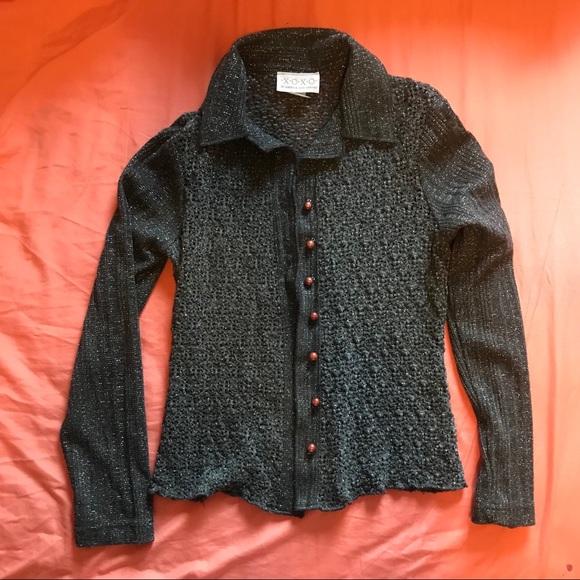 XOXO Sweaters - Vintage XOXO Silver Thread Cardigan
